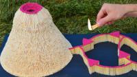 """趣味实验:将火柴头朝内制造的""""火山""""就是不一样?它飞起来了"""