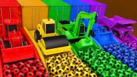 超搞笑!足球里竟然藏了挖掘机、铲车、运泥车,2分钟认识5颜色!儿童玩具游戏故事