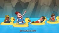 搞笑吃鸡动画:萌妹四人在陆地被追杀,以为水路很安全,结果死得更快!