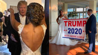 """特朗普突现""""特朗普""""主题婚礼现场 抱住新娘亲吻"""