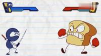 搞笑铅笔动画:没想到小笨蛋还是个忍者高手,上蹿下跳的挺厉害呢!