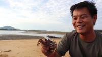 老四在沙滩挖个大洞,往里塞个大空桶丢烤鱼,隔天抓的沙蟹特别大