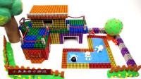 手工制作,磁珠彩泥水晶泥组装儿童玩具屋,游乐园,水上乐园绿树,儿童玩具亲子互动