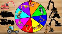 彩色转盘摇摇汽车玩具游戏 认识液压钳机 爪钩机等工程车