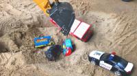 大大挖掘机和炫彩小汽车玩具