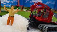 工程车推土机装载机合作运输材料
