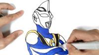 一起画阿古茹奥特曼,代表大海力量的蓝色巨人,盖亚奥特曼的挚友和宿敌!