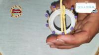 4根火材加透明胶圈,花式创意编织毛线花!