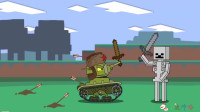 坦克世界搞笑系列:闯入迷你世界,小坦克和迷你世界守卫者对决!飞来好多箭!