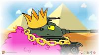 坦克世界搞笑系列:在沙漠里,K5坦克捡到许多皇冠和黄金,成为富有的人!