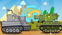 坦克世界搞笑系列:银色坦克和绿色坦克争夺彩虹火车轨道,进行比赛!