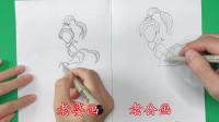 老公老婆画哪吒母亲殷夫人,结果画出一个女神一个女汉子,太搞笑