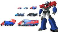 7辆变形金刚动漫G1版汽车人领袖擎天柱机器人变形玩具对比展示