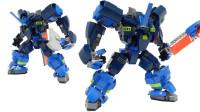 乐高MOC为乐高大电影2雷克斯组装的蓝色战斗机甲积木玩具