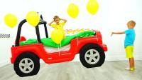 萌娃小可爱和气球一起飞到了太空,小家伙们可真会玩呢!—萌娃:熊孩子快放我下来!