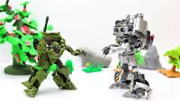定格动画-乐高城市故事之变形金刚绿色坦克版大黄蜂VS爵士机器人变形玩具