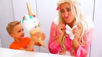 萌娃小可爱们知错能改还是好孩子哟!—萌娃:妈妈,对不起!这个冰淇淋送给你