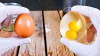 透明的鸡蛋你见过吗?老外几步让鸡蛋产生神奇变化,成品有点惊艳!