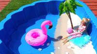 DIY椰子树玩具建造沙滩