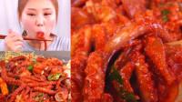 韩国小姐姐,试吃宽粉炖八爪鱼,一口接一口好吃到停不下来