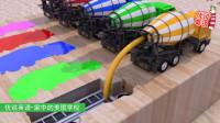搅拌车用彩色水泥把消防车校车封在了模具里 家中的美国学校