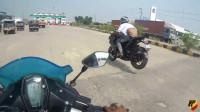 一帮摩托公路竞速飙车命都不要了