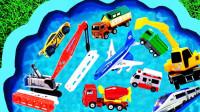 儿童汽车玩具认知:挖掘机、压路机、叉车、推土机、环卫车、赛车、工程车!