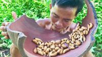 野外生存技能,高蛋白含量的椰子虫,大叔用清水煮煮就开吃