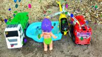 娃娃遇到恐龙,小鱼变成消防车,鳄鱼变身汽车玩具,婴幼儿宝宝玩具过家家游戏视频G541
