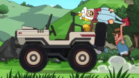 搞笑吃鸡动画:霸哥小队遭遇灵异车辆事件,让达达也来尝尝冲上云霄是啥滋味