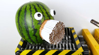 液压机VS西瓜和香烟,究竟谁会胜出?网友:太浪费了!