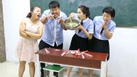 老师举行吃冰棒比赛,赢得奖大盆凉菜,没想女同学直接对着盆吃