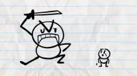搞笑铅笔画小人:看看我的功夫怎么样!
