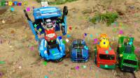 组装搅拌车,变形汽车把车轮变成垃圾车和轿车,婴幼儿宝宝玩具过家家游戏视频H1249