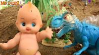 娃娃和搅拌车发现汽车工程车,彩珠变成恐龙,婴幼儿宝宝玩具过家家游戏视频F812