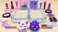 """用两坨可爱""""便便""""做无硼砂泥,加入粉色和紫色化妆品,效果美哒哒"""