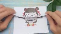 给哪吒手绘6次变换长相,简单一张纸画出小时候和变老太好玩!
