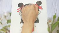 用手掌放在一张纸手绘哪吒,简单好看又可爱的手势图