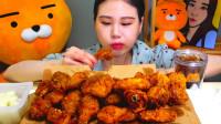 韩国大胃王卡妹,试吃一大份老式炸鸡,真是一个爱吃肉的妹子