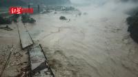 航拍都汶高速绵虒服务区灾情:大桥房屋垮塌、道路被冲毁