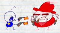 搞笑铅笔动画:阿呆不自量力去缉拿通缉犯,结果被人家打成了筛子!