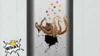 可爱的八爪鱼爬到水管里正在吐墨汁