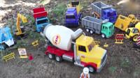 益智早教 救助搅拌车和警车的儿童消防云梯车玩具
