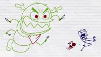 搞笑铅笔动画:铅笔人带狗狗去寻找蝴蝶,掉进了深渊洞穴,碰上各种凶恶猛兽