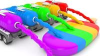 太神奇了!工程车制造的彩虹冰淇淋,竟然出现了一只恐龙,咋回事?儿童玩具故事游戏