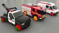 亲子早教动画消防车拖车装上草莓轮胎