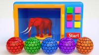 咋回事?红色的球放进微波炉变出大象!那黄色的球会变出什么呢?儿童玩具游戏故事