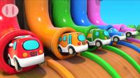超好玩!给迷你消防车、警车、工程车涂颜色,2分钟认识5种颜色!儿童玩具游戏故事