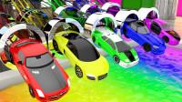 超炫酷!5辆超级跑车赛车,穿过隧道后竟然变出5种不同颜色!儿童玩具游戏故事