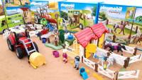 儿童趣味玩具:拖拉机运输粮草喂养马匹,轿车运输马匹建造农场基地!